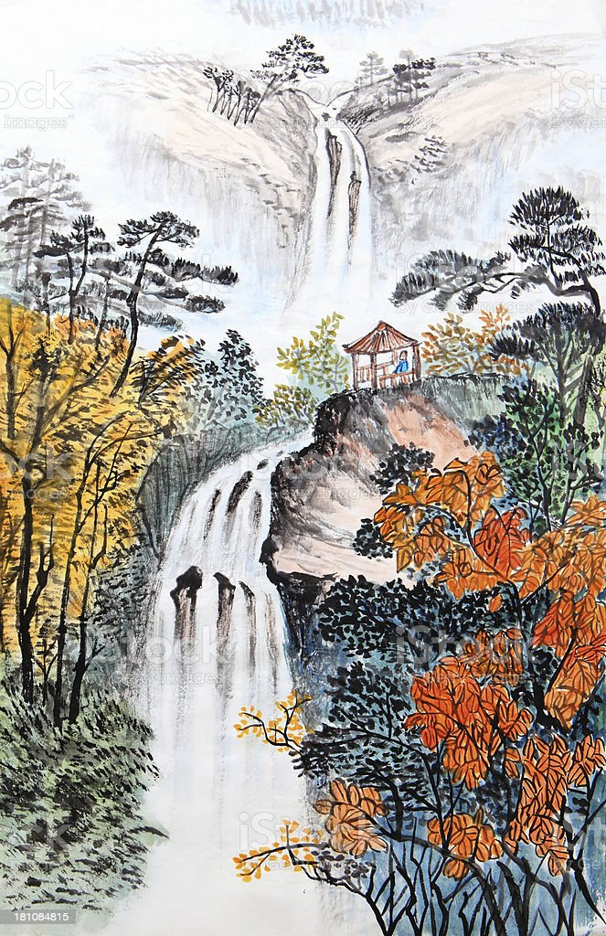 Artistic drawing of Chinese landscape stock photo