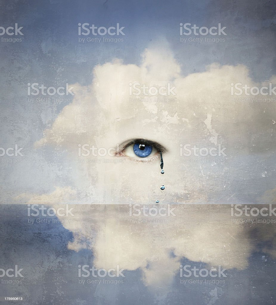 Artistic drawing of eyes tearing amidst the white cloudy sky stock photo