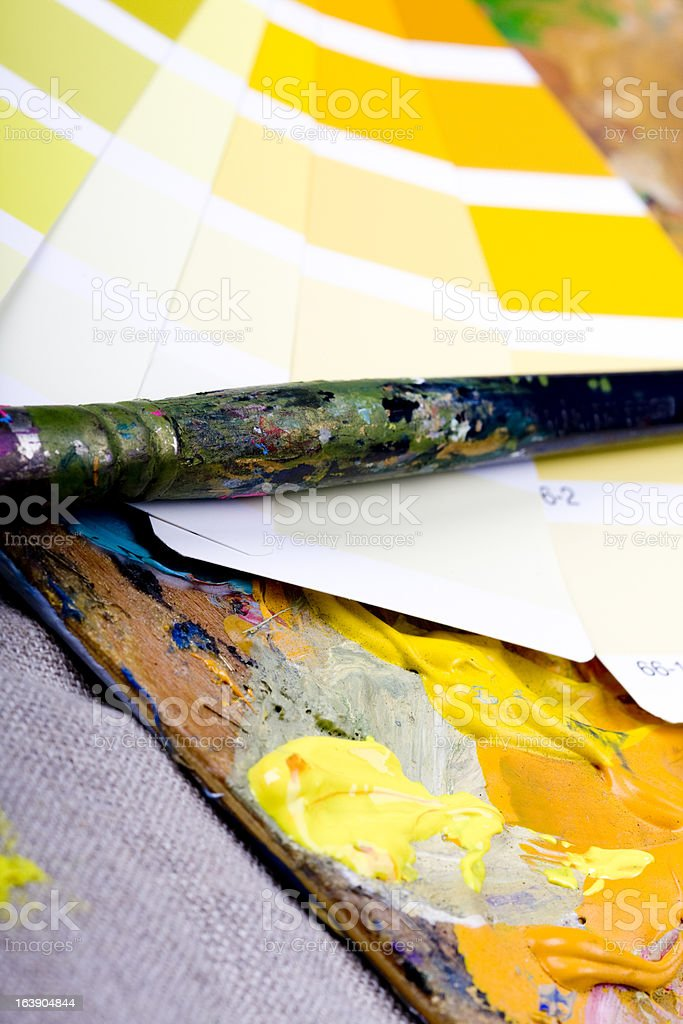 Artistic equipment and color chart royalty-free stock photo