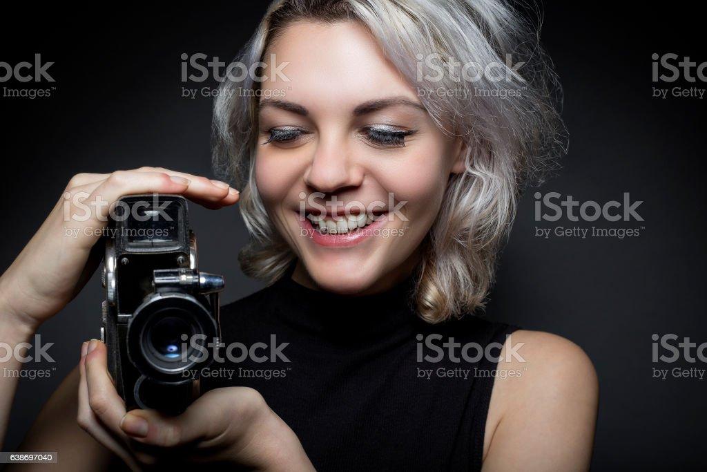 Artistic Female Cinematographer or Filmmaker stock photo