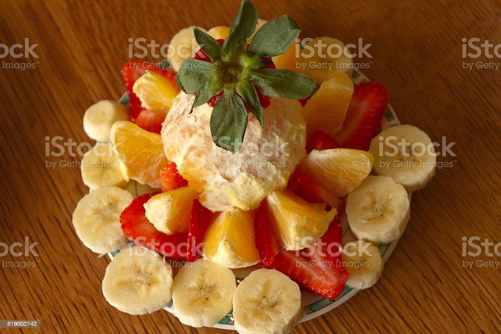 Artistic Fresh Fruit Arrangement stock photo
