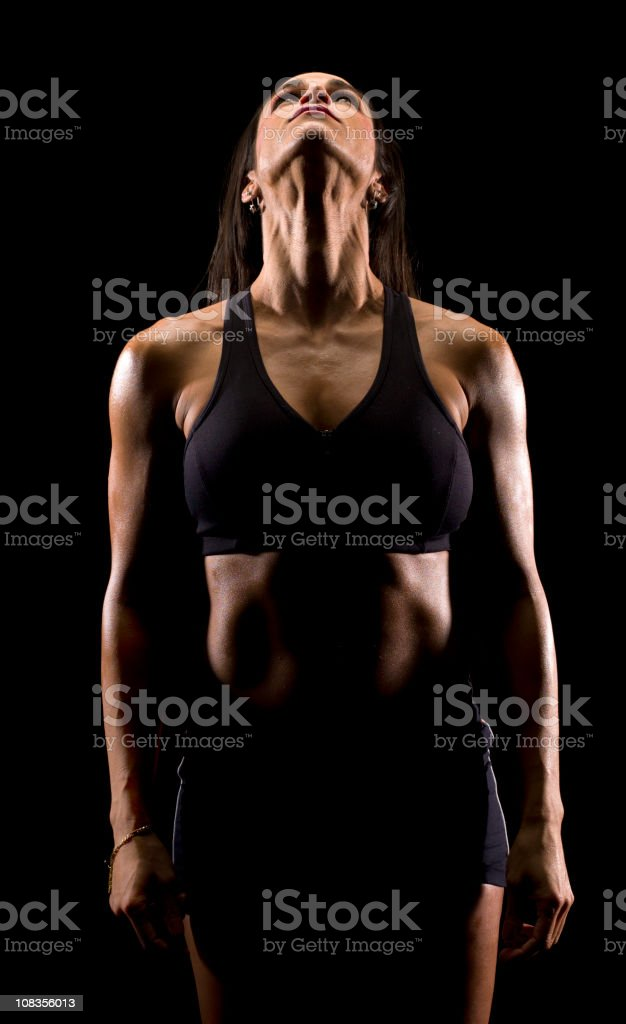Artistic Image of a Hispanic woman at the gym royalty-free stock photo