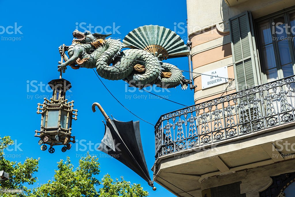 Artistic lamppost in Les Rambles of Barcelona stock photo