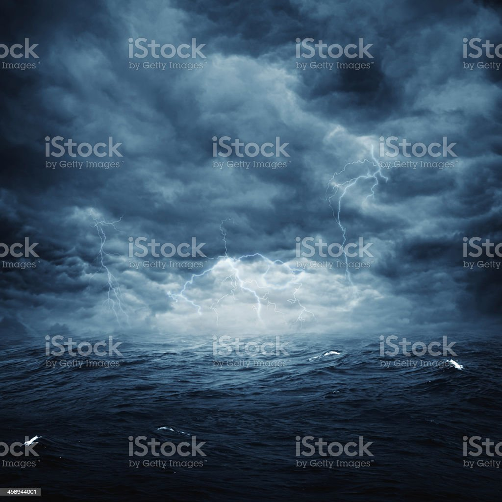 Artistic landscape photo of stormy weather over an ocean stock photo