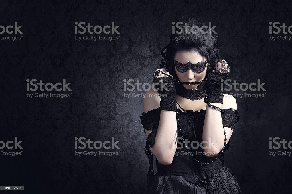 Künstlerische Make-up. Schwarze Maske Lizenzfreies stock-foto