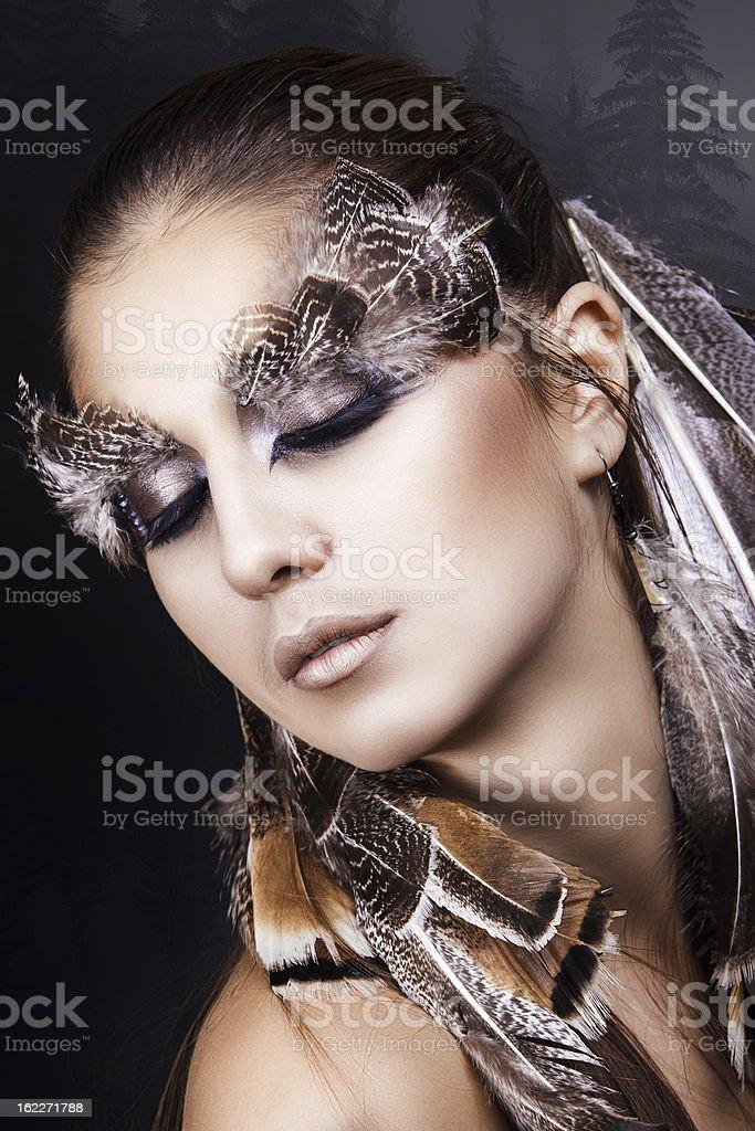 Künstlerische Make-up: hawk-Frau Lizenzfreies stock-foto