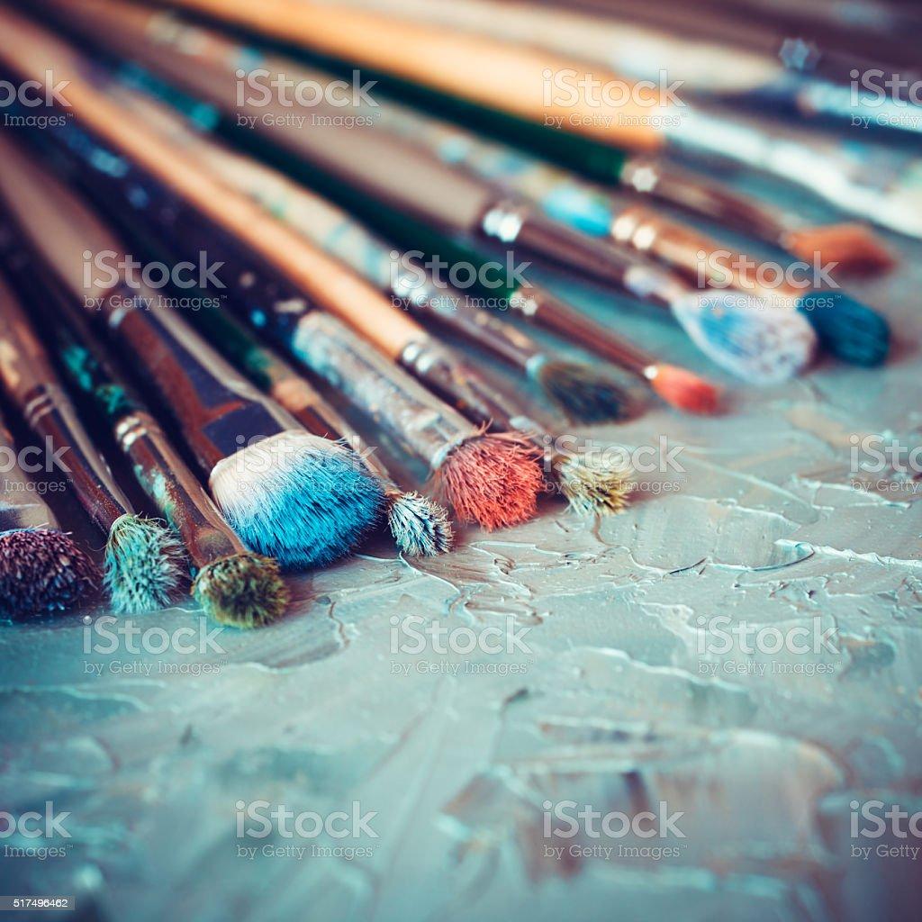 Artistic paintbrushes stock photo