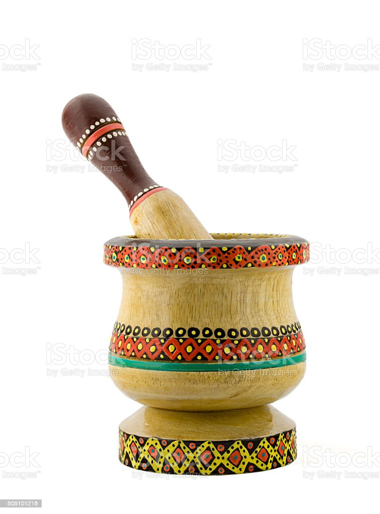 Artistic painted mortar and pestle stock photo
