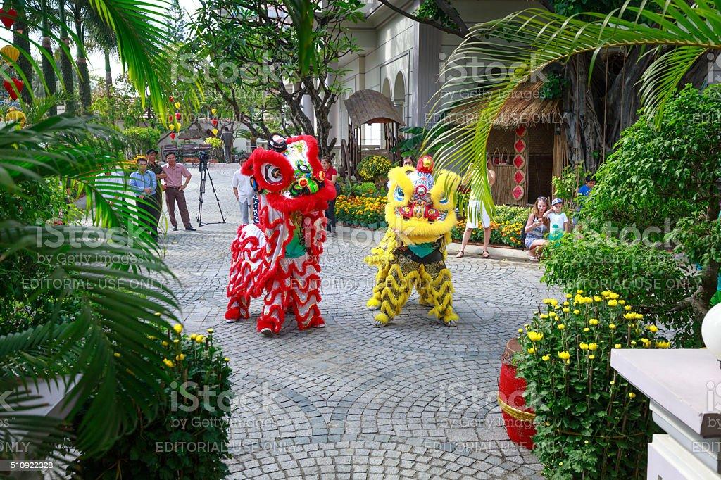 artistic performances dragon-unicorn dance stock photo
