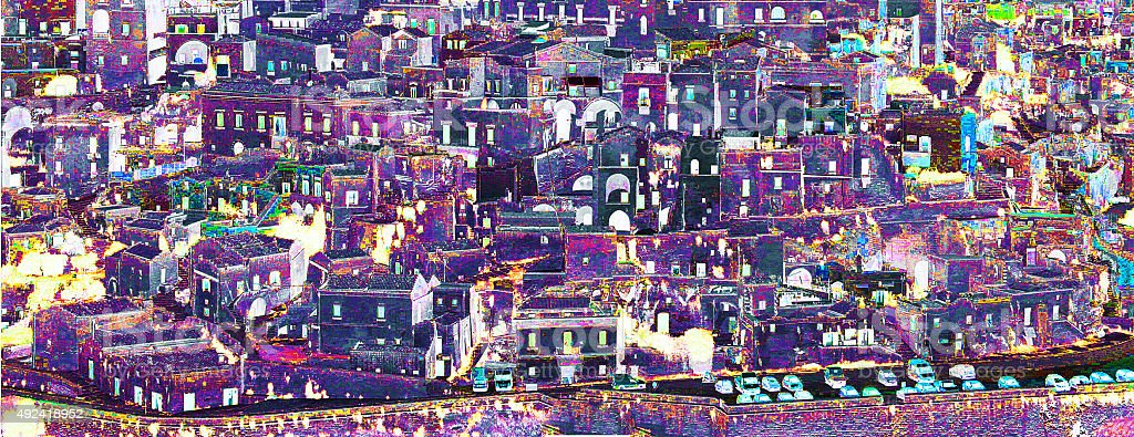 Artistic photo editing of Matera, urban lanscape, Basilicata, Italy stock photo