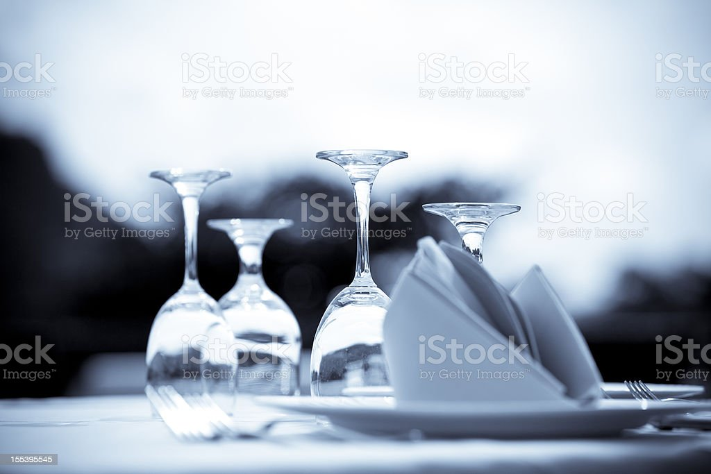Artistic photograph of an elegant table setting stock photo