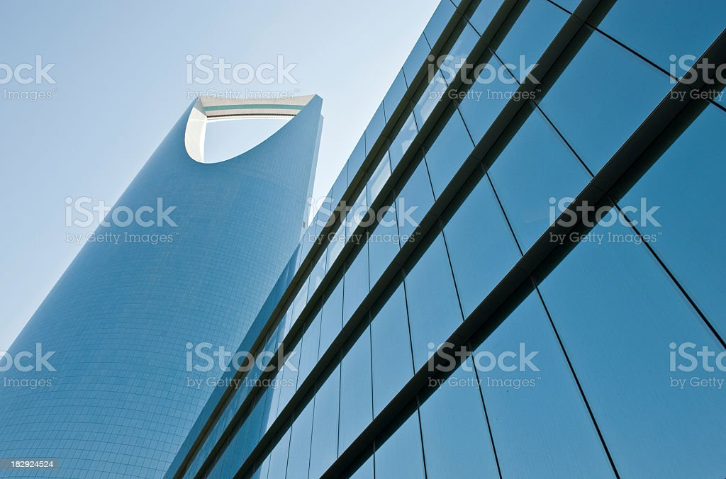 Artistic picture of a glass building in Saudi Arabia royalty-free stock photo