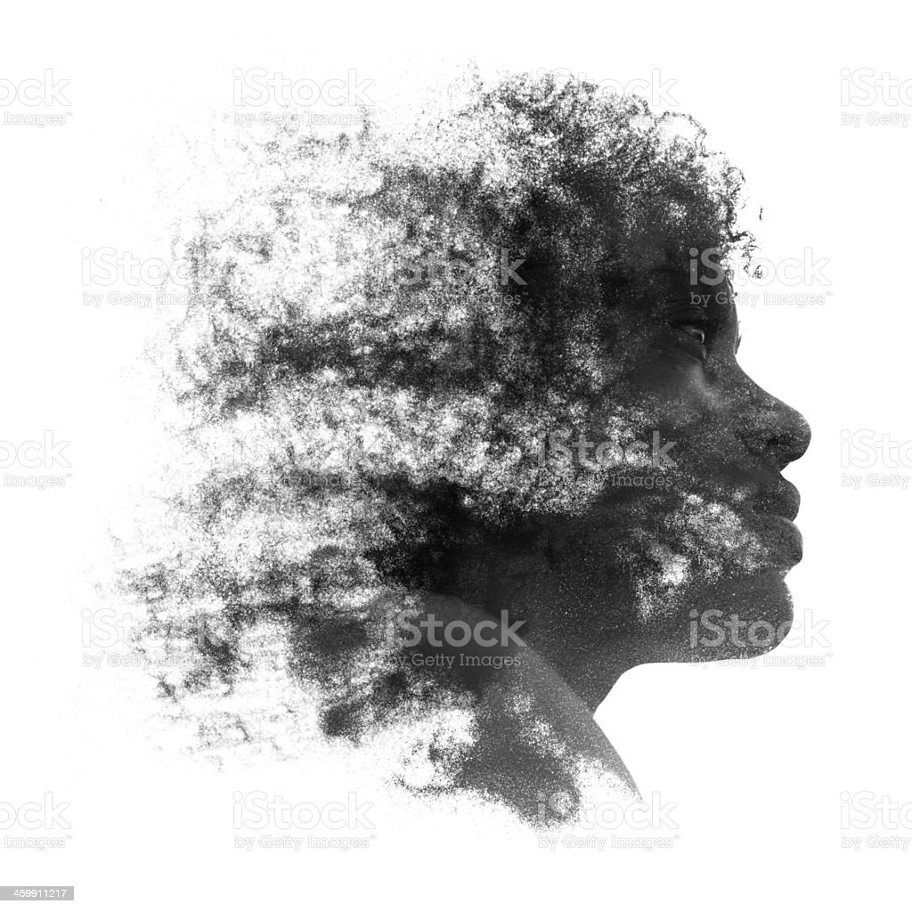 Artistic portrait of a young African woman stock photo