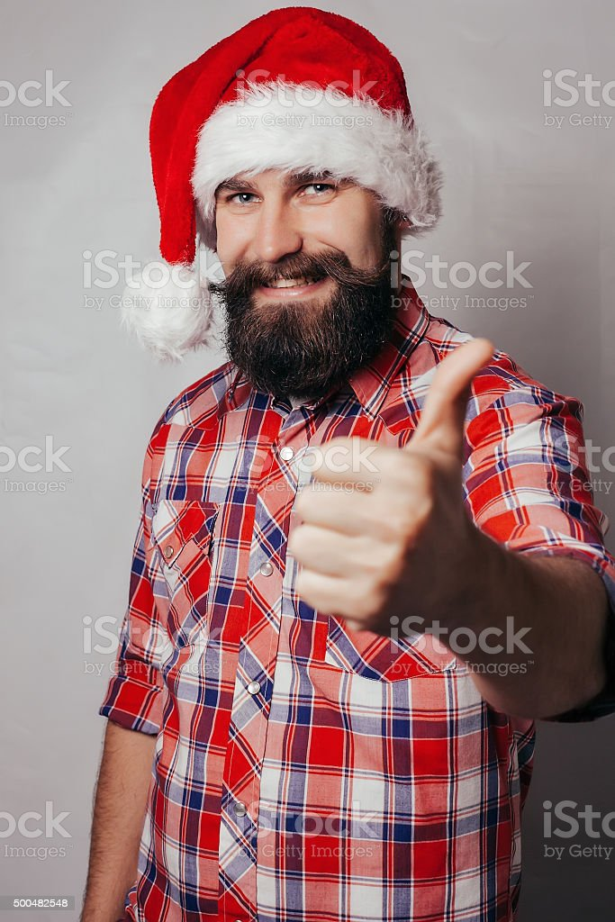 Artistic portrait of gray haired santa claus stock photo
