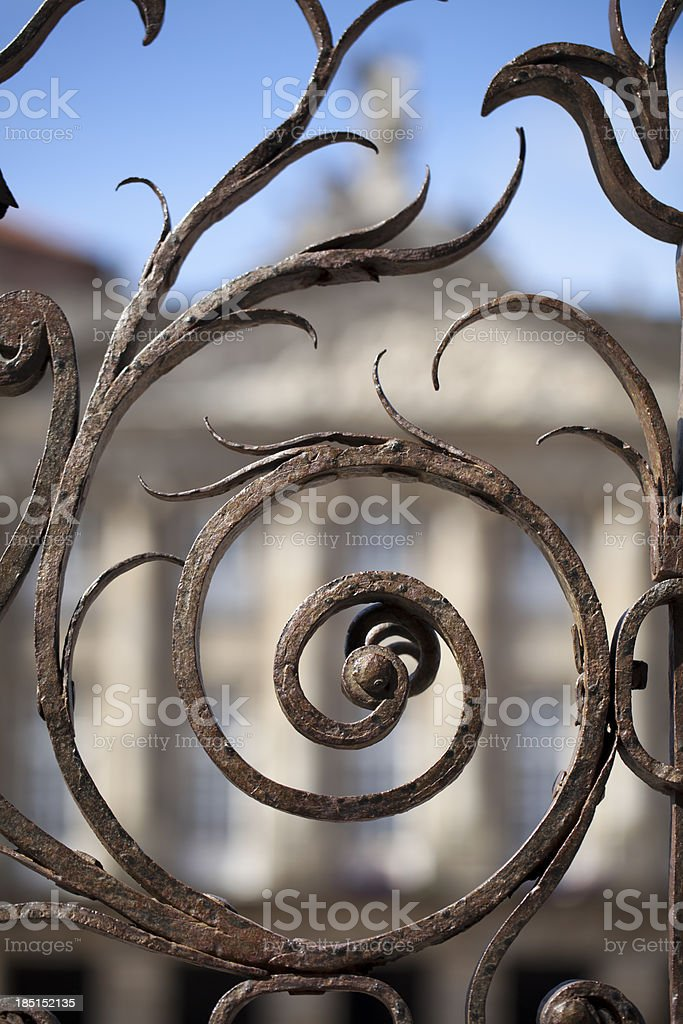 Artistic railing in Obradoiro square royalty-free stock photo