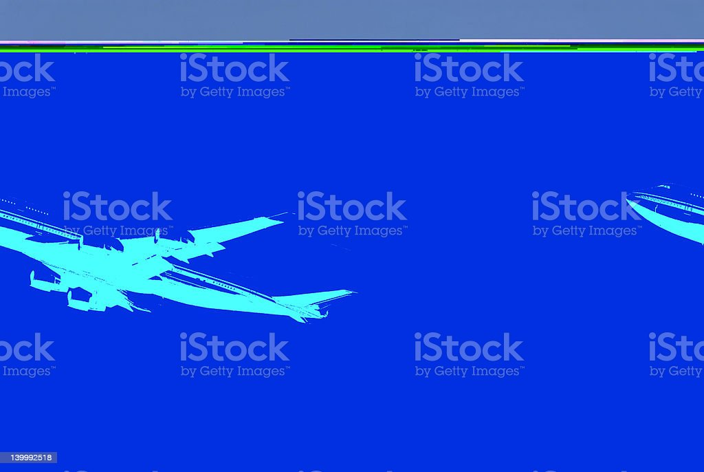 Artistic rendering of jumbo jet stock photo