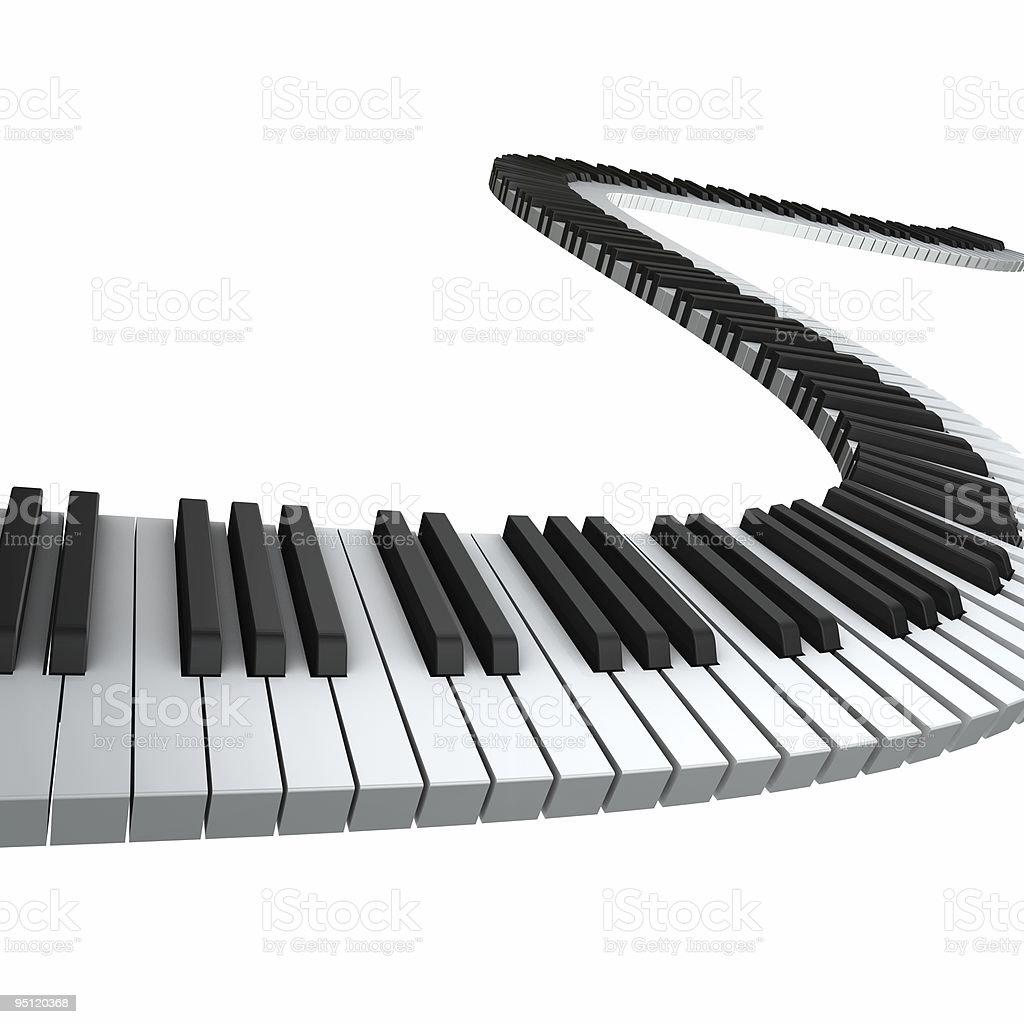 Artistic rendering of wavy piano keyboard stock photo
