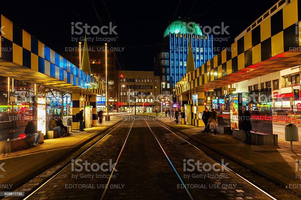 artistic tram shelter at Steintor, Hanover, Germany stock photo