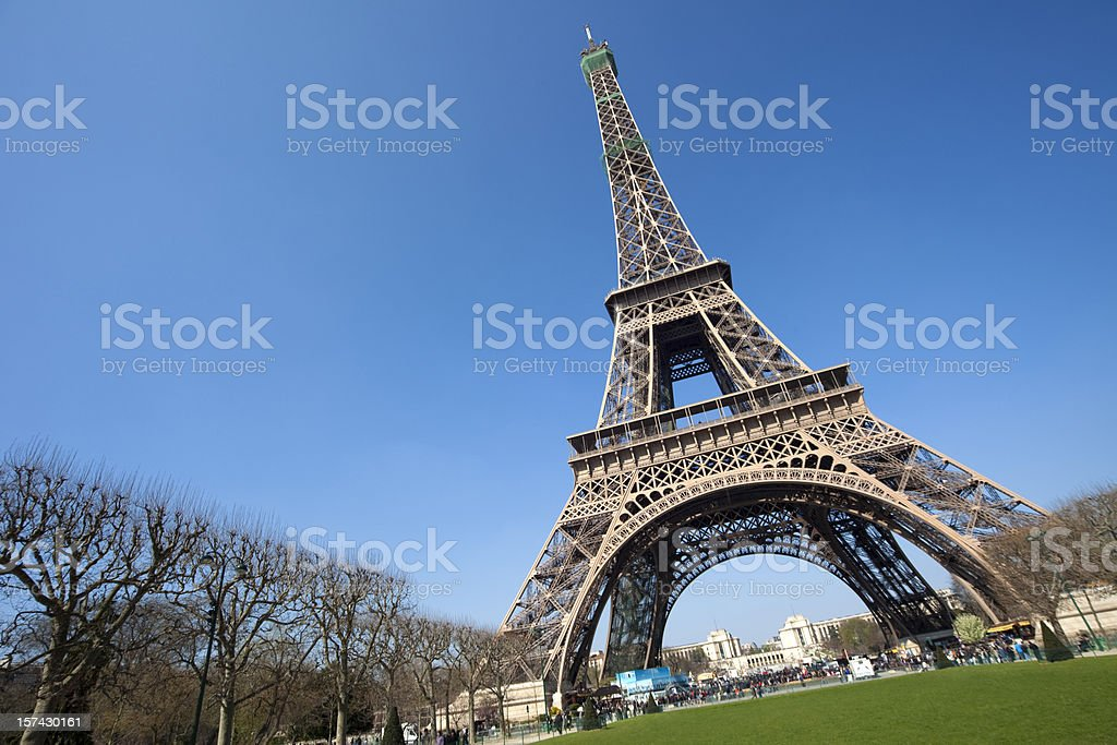 Artistically angled photograph of Eiffel Tower, Paris royalty-free stock photo