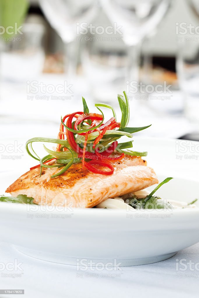 Artistically plated salmon dish stock photo