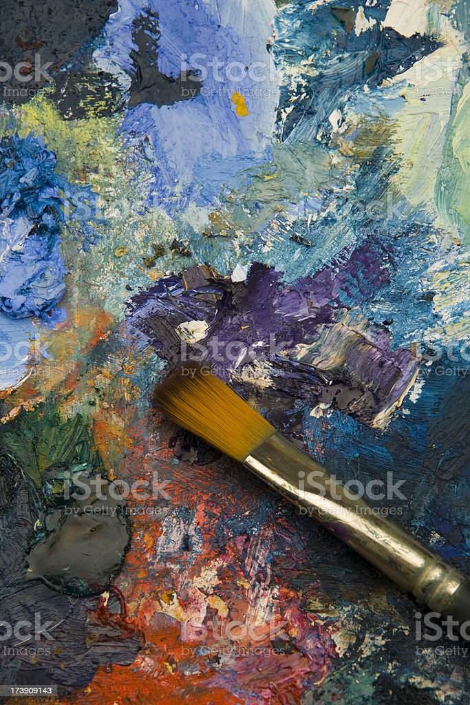 Artists acrylic paint palette close up semi abstract background royalty-free stock photo