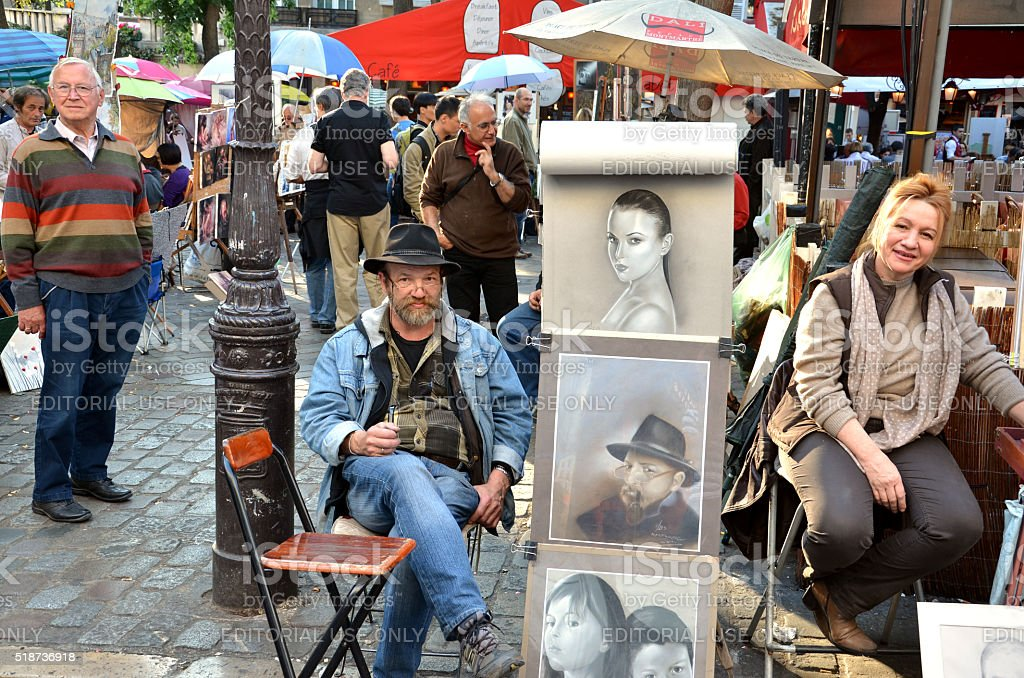 Artists display their work in Montmartre stock photo