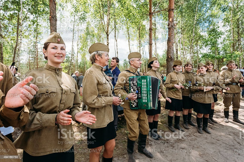 Artists dressed as Soviet Russian soldiers dance during events d stock photo