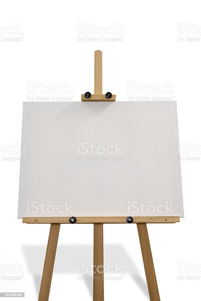 Artist's easel isolated on white royalty-free stock photo