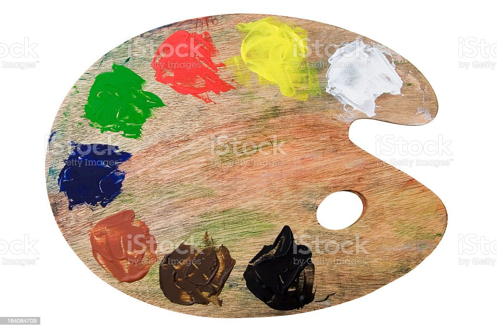 Artist's easel with color palette stock photo