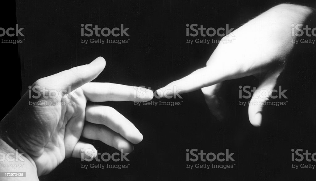 Artists' Hands Touching: Michelangelo Style royalty-free stock photo