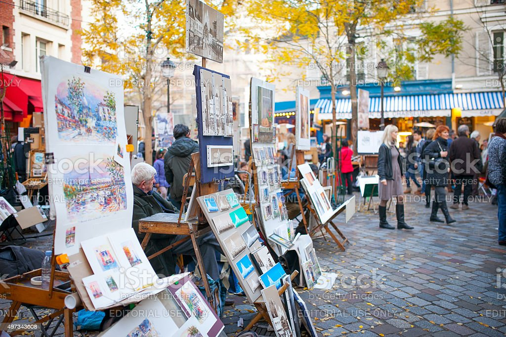 Artists in Place du Tertre stock photo