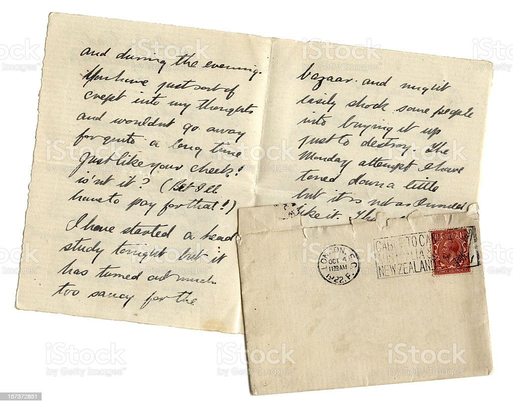 Artist's letter with blank envelope stock photo