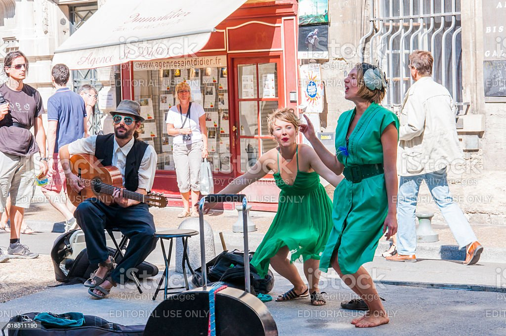 Artists musicians performing outdoors during Avignon Festival Off. stock photo