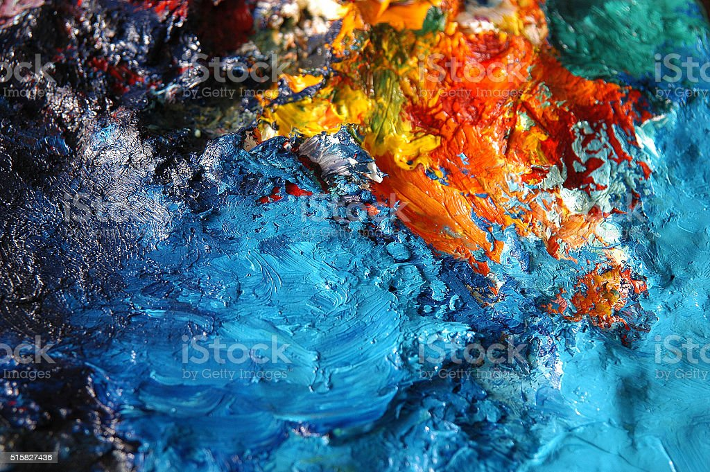 Artists oil painting palette stock photo