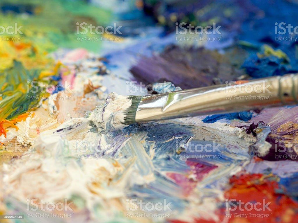 Artists oil paints palette stock photo