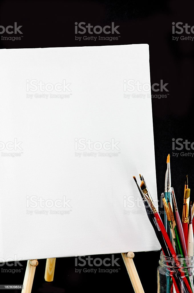 Artist's Paintbrushes and Art Canvas- Isolated stock photo