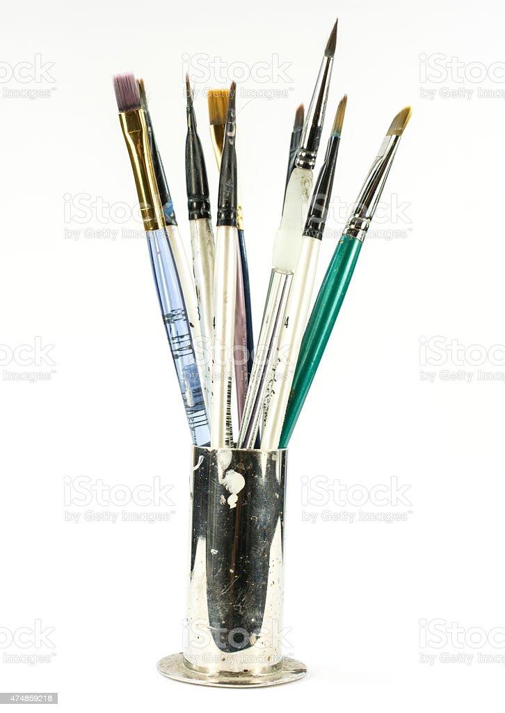 Artist's Paintbrushes- Isolated o a White background stock photo