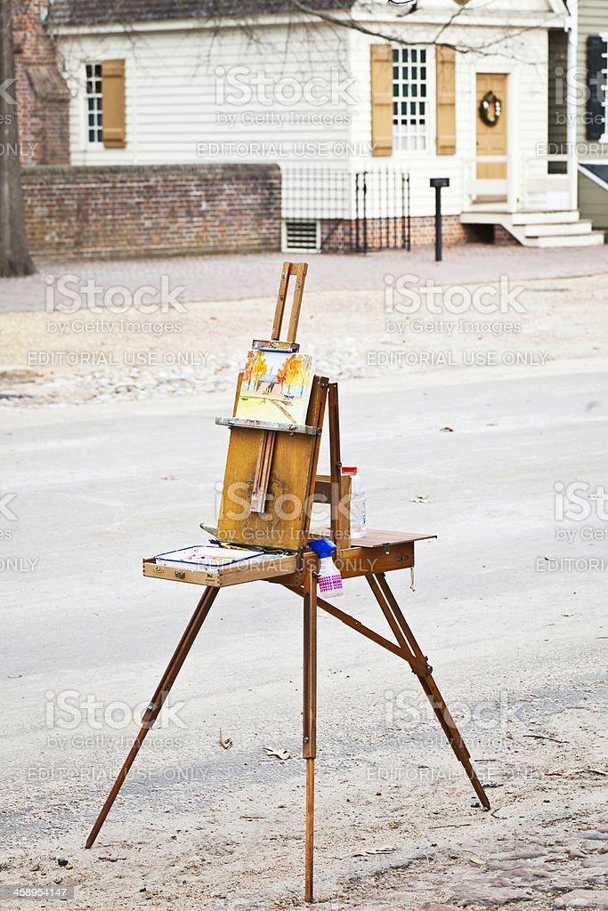 'Artist's Painting Left Unattended, Williamsburg, Virginia' stock photo