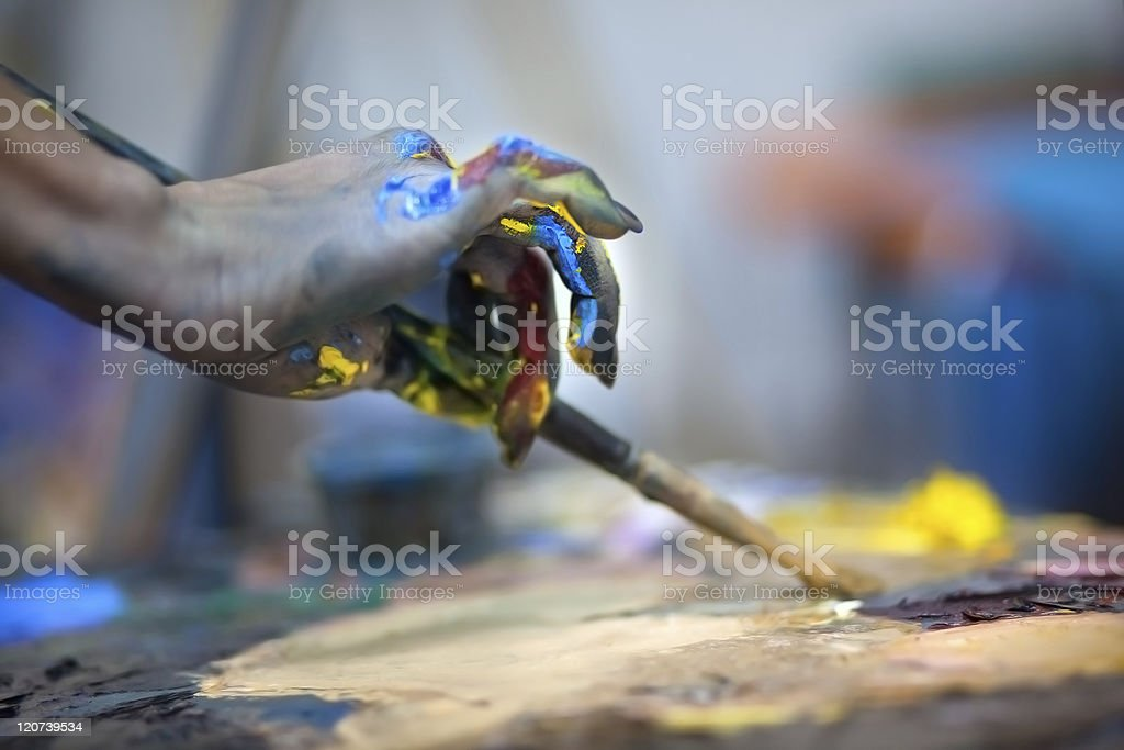 Artists painting pallette stock photo