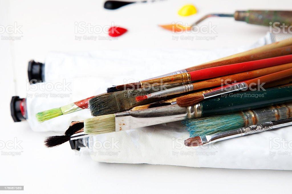 Artist's paints & brushes stock photo