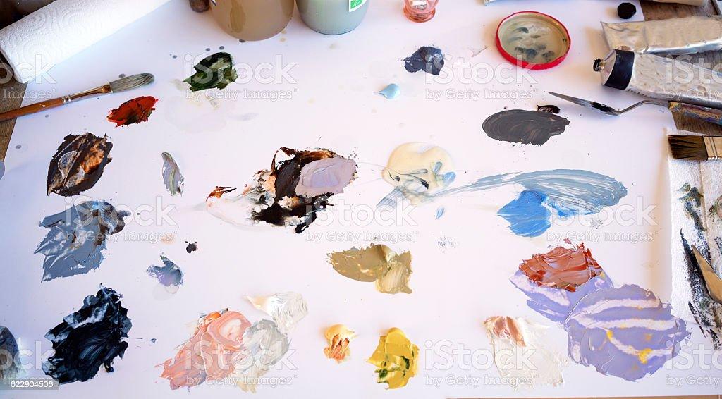 Artist's palette and brush stock photo