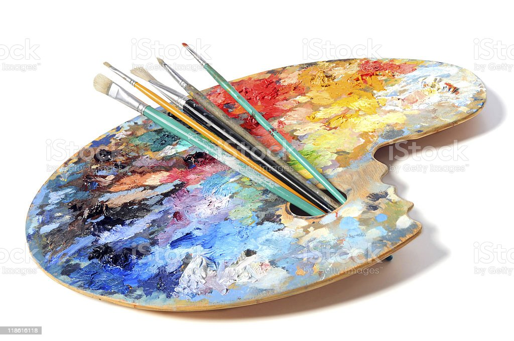 Artist's Palette With Brushes royalty-free stock photo