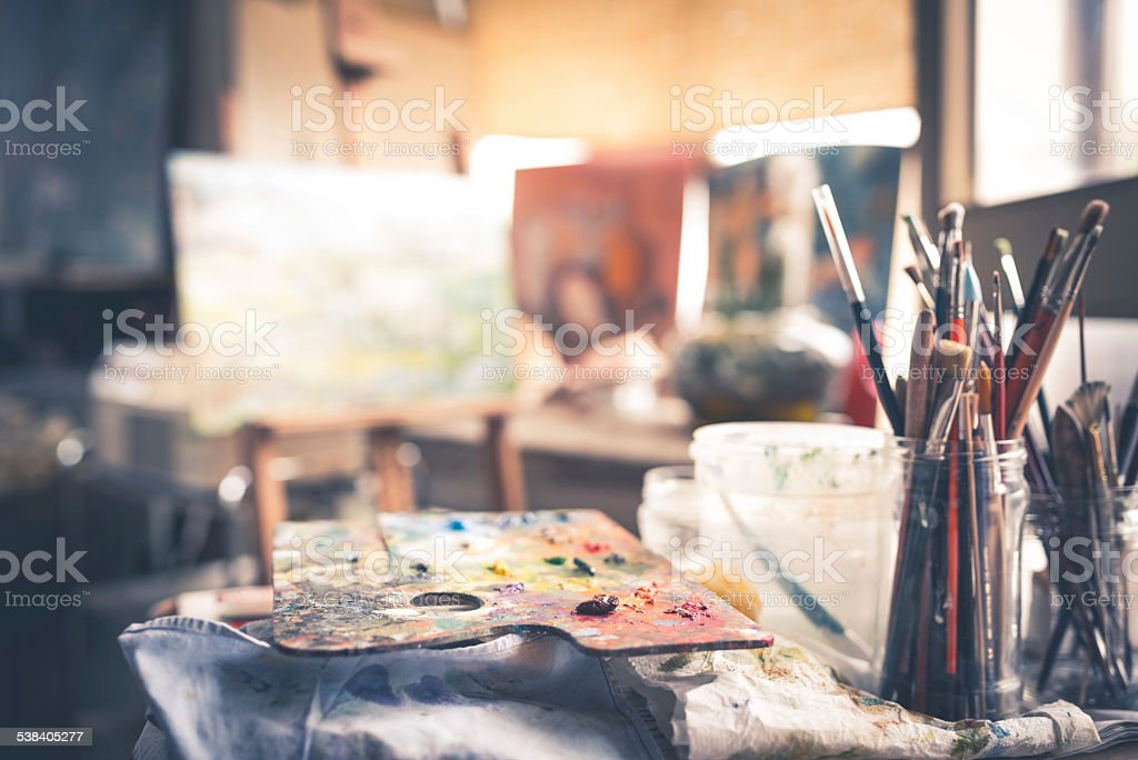 Artist's Palette With Brushes stock photo