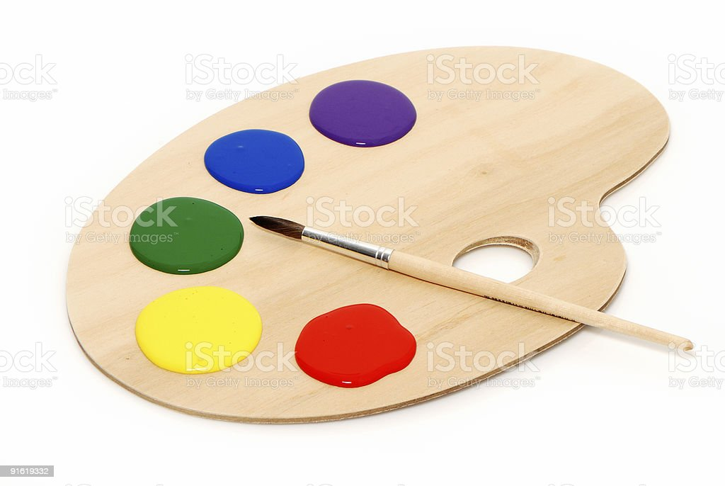 Artist's palette with multiple colors royalty-free stock photo