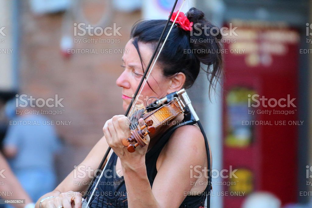 Artists perform in the street stock photo