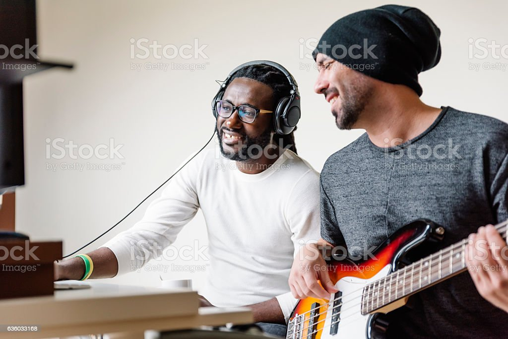 Artists producing music. stock photo