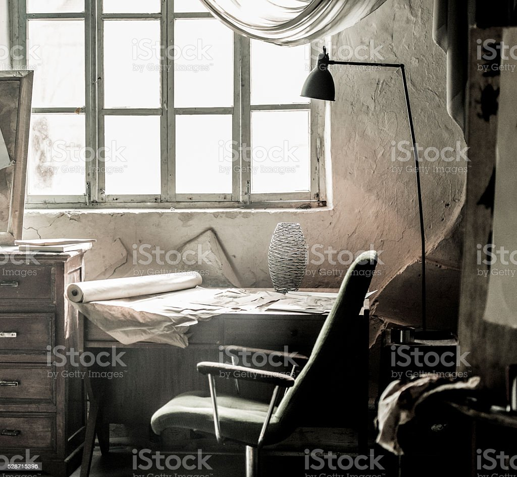 Artist's studio with bright natural light stock photo