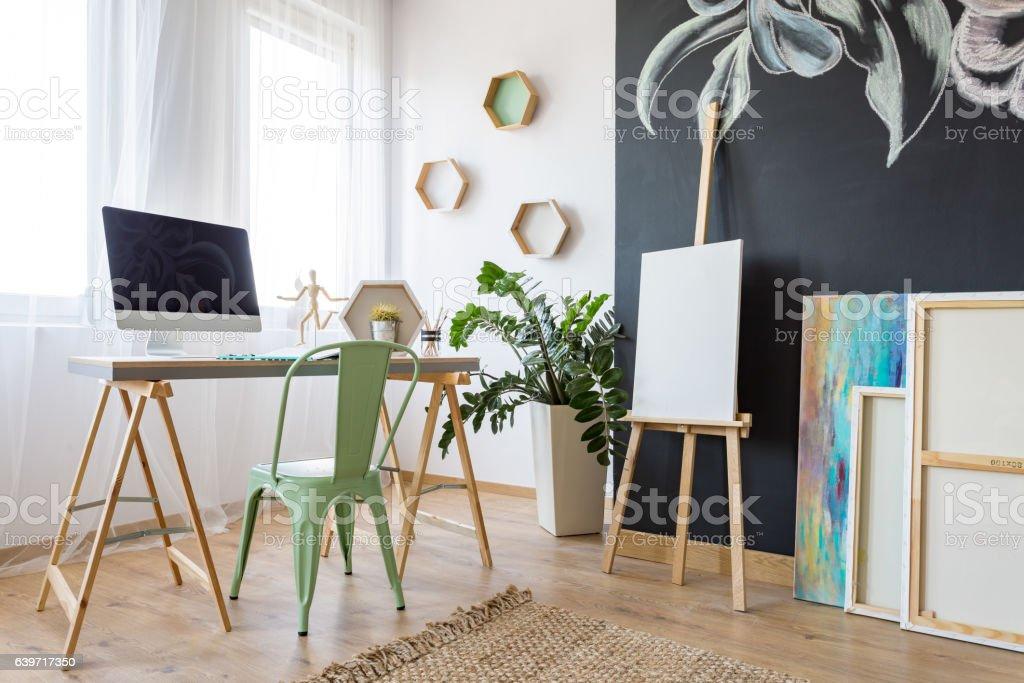 Artist's study room stock photo