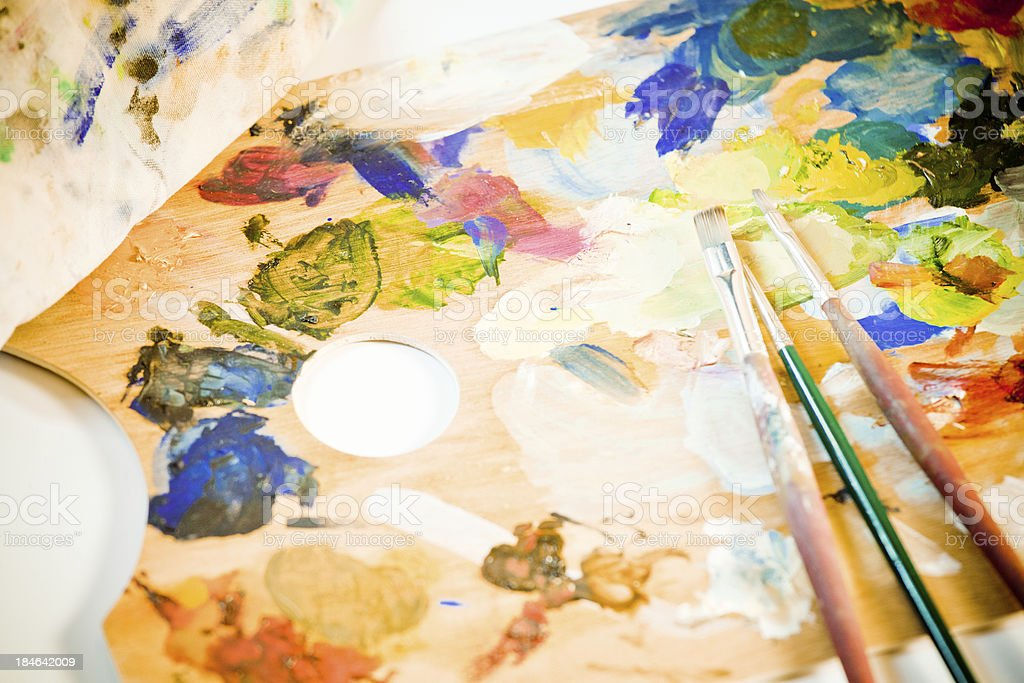 Artist's Toold, Palette and Brushes royalty-free stock photo