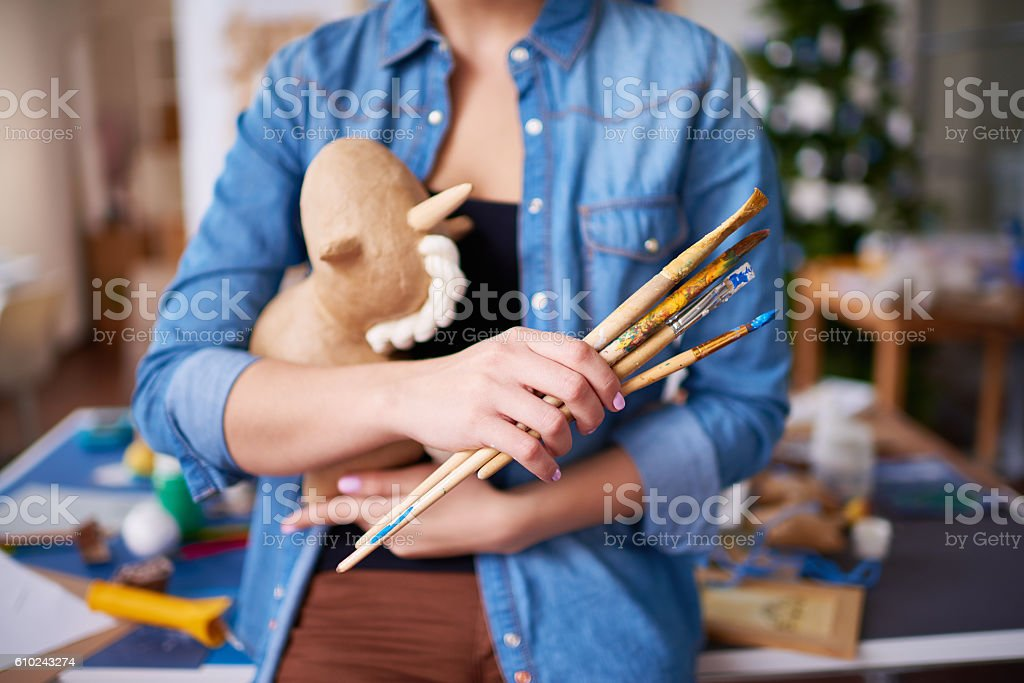Artists work tools stock photo